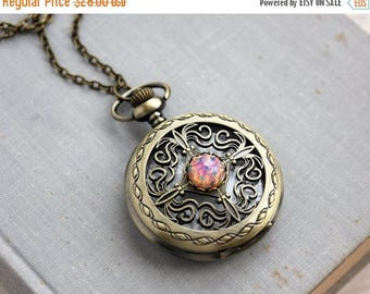 VACATION SALE- Fire Opal Pocket Watch Necklace. Gift for her under 30 usd.