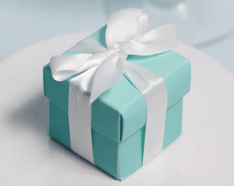 12 Tiffany-style Favor Boxes - White Ribbons Included - Robin's Egg Blue Boxes - Blue Favor Boxes - Aqua Favor Boxes - 2x2 Favor Boxes
