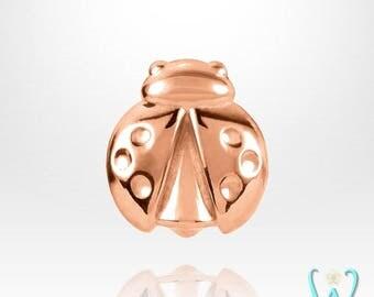 14K Tiny Ladybug Stud Earring