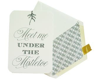Box of 8 Mistletoe Evergreen Design Christmas Holiday Flat Card