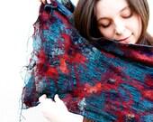 "Nuno felted emerald scarf shawl merino wool and silk feminine romantic fashion for her- ""Red flowers"""