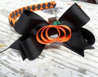 Halloween/Fall woven headband with removable bow