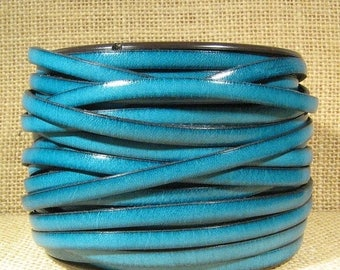 25% Off 5mm Flat Leather - Turquoise - 5F6 - Choose Your Length