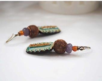 SALE Teal Ceramic Earrings, Artisan Ceramic Earrings, Gypsy Boho Earrings, Amethyst Earrings, Rustic Earthy Earrings