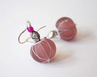 SALE Pink Earrings, Lampwork Glass Earrings, Geometric Earrings, Modern Earrings, Large Earrings, Glass Bead Earrings, Artisan Lampwork Jewe
