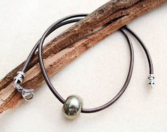 Men's Necklace, Pyrite, Leather, Rondel Pyrite Stone, Dark Brown or Black Leather, Rustic, Zen, Minimalist, Handmade Jewelry, Gift for Him