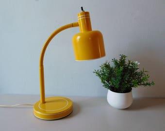 Vintage 1960s yellow gooseneck lamp Flexible desk lamp