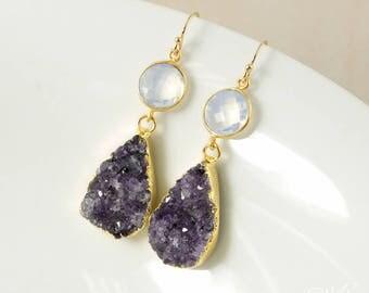 50% OFF SALE - Gold Purple Druzy Crystal Teardrop Earrings - White Opalite - Dangle Earrings