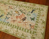Bird Table Runner Quilted with Butterflies and Dragonflies, Green White and Blue, Bird Lover Gift, Quilted Table Topper, Small Table Runner