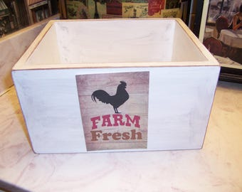 Farm Fresh storage box,organizer box,Farmhouse decor,Rustic decor,Farmhouse kitchen decor,Kitchen decor,Rustic farmhouse