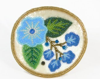 Ring Dish Blue Floral Beaded Bowl Decorative Jewelry Keeper Trinket Dish *READY TO SHIP