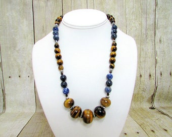 Tiger Eye and Sodalite Necklace with Matching Earrings