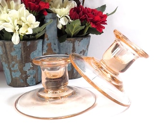 Pink Depression Glass Candle Holders Vintage 1930s Elegant Glass Candlestick Pair