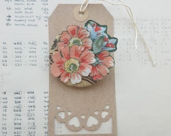 OOAK - Handmade - Fabric Flowers Brooch - Textile Jewellery - Hand Sewn - Tactile - Floral Statement Brooch - Fabric Brooch - Eco Gift