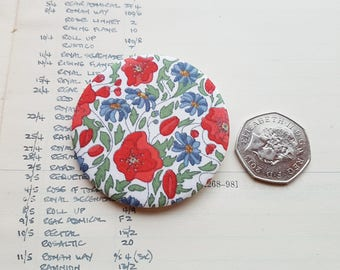 Liberty London Tana Lawn Fabric Brooch, Pinback Button, Handmade, Liberty Fabric Lapel Pin, Simple Chic Accessory, Classic Chic, Simple