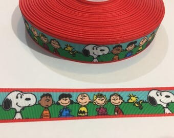 3 Yards of 7/8 inch Ribbon - Snoopy and the Peanuts Gang