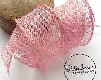 Hand Rolled Sinamay Ribbon Trim for Millinery, Hat Making & Fascinators - Light Pink