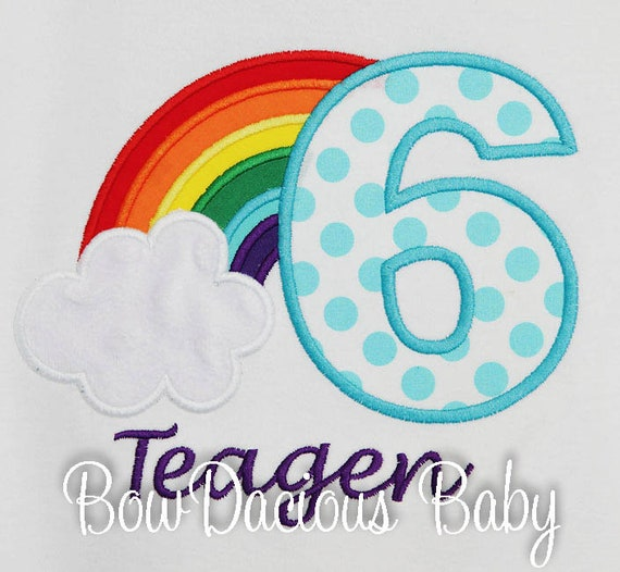 Rainbow Birthday Shirt Girls Personalized