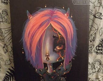 Original lava FAIRY lowbrow art painting gothic pop surreal