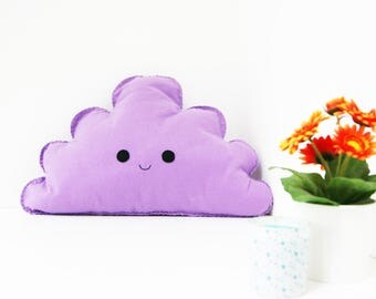 Large Lilac Purple Happy Cloud Pillow, Kids Cloud Cushion, Plush Cloud, Cloud PiIlow, Cloud Room Decor, Girls Room, Baby Cloud Nursery Decor
