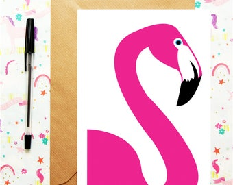 Flamingo Birthday Card, Flamingo greetings card , Personalised card, Birthday Card, Birthday Gift, Card for sister, Girls card, for friend