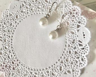 Faux pearl 8mm dangle earrings for everyday or special occasions. Bridesmaids gift bridesmaid jewelry gift under 15