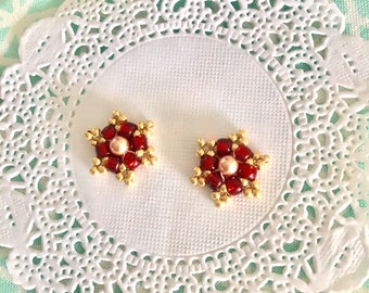 Red and gold seed beaded charm drops for any accessories zipper pull key chain earring drops