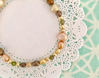 multi color fresh water pearl mix single strand friendship bracelet. Simple classic fresh water pearl bracelet.