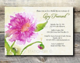Pink Peony Custom Engagement Party Invitation - Watercolor Pink Peony - Sold in sets of 10