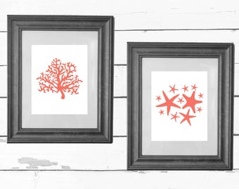 Coral and Starfish Printables / Ocean Drawings / Seaside Art / Beach House / Nursery Decor / INSTANT DOWNLOAD