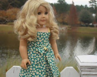18 inch Doll Dress, Fits American Girl, Green & Yellow Flower Dress