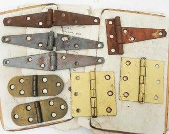 8 Salvaged Rusty Vintage Sewing Machine Barn Door Hinges Vintage Hardware Repurpose  Assemblage Steampunk Supply
