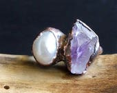 RESERVED Amethyst Pearl Ring Dual Stone Ring Size 7 Birthstone February June Copper Gemstone Midwest Alchemy Ring