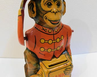 ON Hold for RS....Art Deco Chein Mechanical Monkey Lithographed Tin Bank Tips Hat With Coin