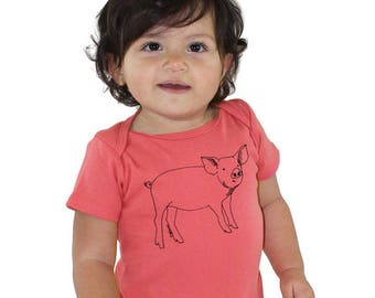 Pig Baby Shirt, Organic Cotton Baby Onepiece, Infant Bodysuit, Coral Romper, Baby Pig, Farm Animal, Short Sleeved, Hand Printed Little Piggy