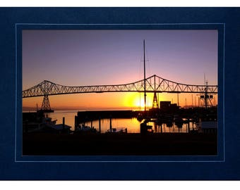 Coastal Cards - Megler Bridge Cards - Astoria Oregon Cards - Megler Bridge at Sunrise - Megler Bridge Photos - Coastal Sunrise Photos