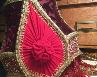 The Gorgeous Hussy Red Silk Victorian Lampshade With Rosettes
