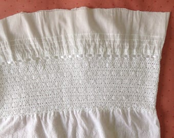 """Cotton Lace Petticoat Hem- Tucks/Insertion/Broderie Anglaise Trim 94"""" (2.38 metres) in Length. Width~ 14"""" (35.5cm) - To Make into Petticoat"""