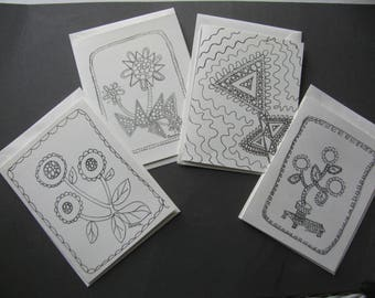 Arty Doodle, Floral Note card set of 4, to be colored in.