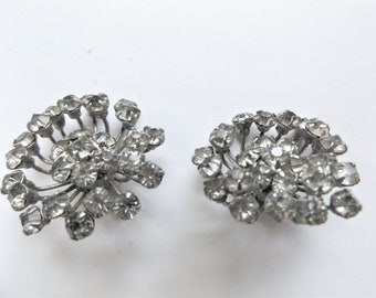 "Stunning Vintage Prong Set Rhinestone Clip On Earrings  - 1 1/4"" Diameter"