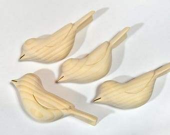 Unfinished Wood Bird Carvings Ornament Wooden Sculpture, Adult Craft Supplies Woodworking Fall Craft