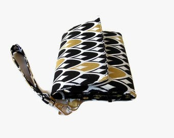 Cushioned Phone Trifold Wristlet Wallet - Black and Gold Cell Phone Wristlet - Smartphone Pouch - Phone Wallet - Fabric Clutch