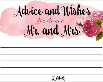 Wedding Table Cards *Advice and Wishes for the New Mr and Mrs* SweatPea