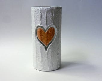 Vase with carving / gold heart  / gold and white gift / wedding gift / gold heart / white and gold vase