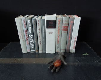 Eleven Grey Books for Decor - Red Gray Foot of Books - Wedding Centerpiece Decor - Bookshelf Decor