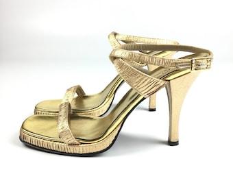 Vintage Ferradini Rhinestone Strappy Gold Heels Size 39
