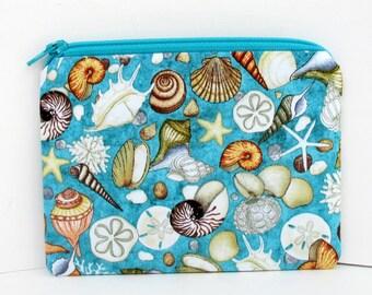 Small Zipper Pouch, Sea Shell Bag, Ocean Oasis, Lagoon Blue