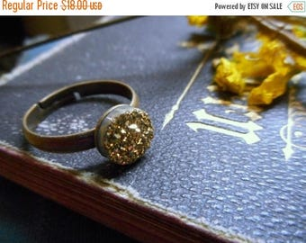 SALE The Gilded Druzy Ring.  Gold Druzy Titanium Coated Crystal Cabochon ring.