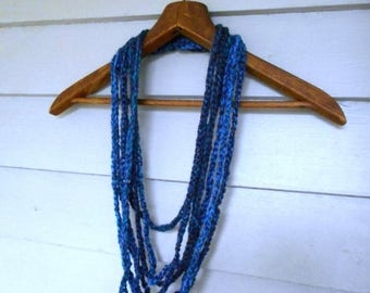 SALE Summer Thunder. Multi Strand Crochet Boho Necklace in eggplant, deep blue & turquoise. Genuine Alpaca wool yarn . Handmade Rustic Neck