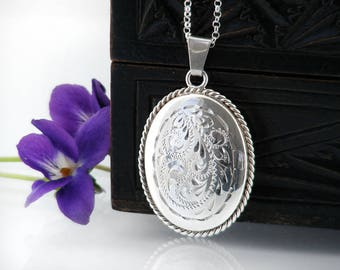 Vintage Sterling Silver Locket | Engraved Oval Locket | Rope Twist Border | 1970s English Silver | Wedding Locket Necklace - 20 inch Chain